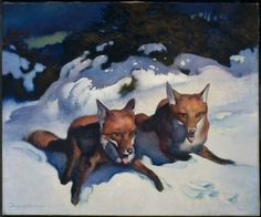 "George Hawley Hallowell ""Two Foxes"" American, about 1923. Museum of Fine Arts, Boston."