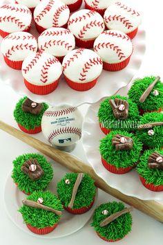Baseball party inspiration board by Bella Bella Studios ~ AH-mazing baseball cupcakes! photo via Blovely Events #baseball #cupcakes #party #cakepops #ball #bat