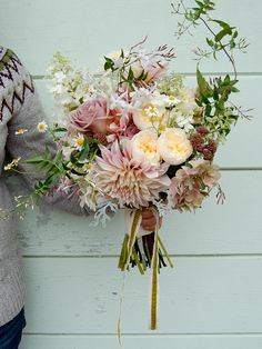Dahlias and David Austin roses Wedding bouquet.
