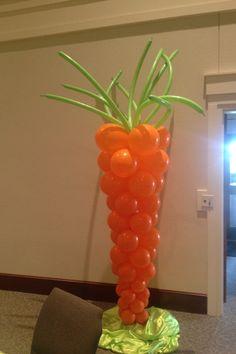 food sculpture, balloon decor, easter carrot, carrot balloon, balloon food