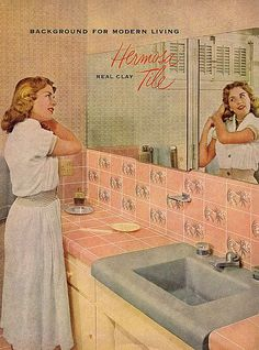 Oh how I love a charming pink mid-century bathroom like this one!