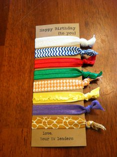 YW / Young Women Birthday Gift - Elastic Hair Ties  We ordered all the value colors in different patterns from Etsy.  These were so easy to make and our girls have loved them!