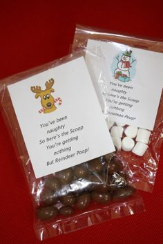Reindeer Poop and Snowman Poop for christmas Candy grams. Whoopers and marshmallows.