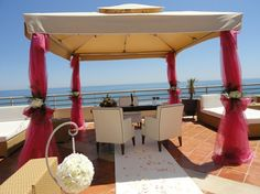 Pink White wedding Ceremony Algarve Portugal by Algarve Wedding Planners