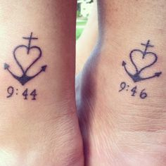 "My sister and I got ""twin"" tattoos for our birthday. The ancho stands for faith, love and hope and comes from 1Corinthians 13:13. We were born two minutes apart and the time at the bottom of hers is the time i was born and the time at the bottom of mine is when she was born."