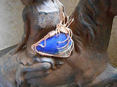 Deep blue Lapis Lazul wrapped in bronze by KANDYLEES on Etsy, $95.00