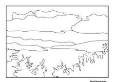 Lake Champlain landscape adult coloring page