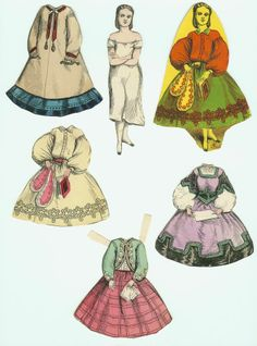 McLoughlin Paper Doll - Kitty Black; Doll, Partial Envelope & 4 Dresses; No Hat