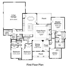 First Floor Plan of Craftsman   Ranch   House Plan 92604