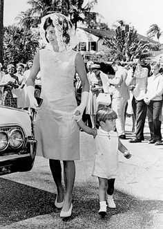 sillyjedi:    Jacqueline Kennedy and her son John in Palm Beach on Easter Sunday, 1963