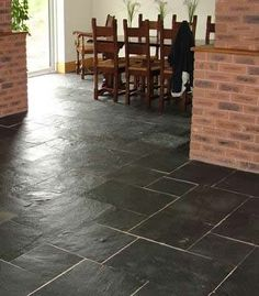breakfast rooms, idea, tiles, dream homes, slate floor, natural stones, hous, slate tile, black