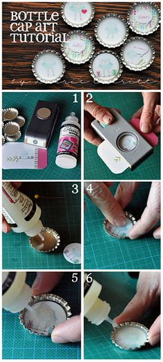"""bottle cap tutorial: 1""""circle punch, paper, diamond glaze. stamp image, glue to inside, make sure completely dry before adding diamond glaze to the top to seal it and give it a glossy finish. add magnet to the back, she uses e6000 glue for that step, but just use something strong"""