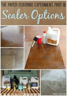 Sealer Options: Fantastic review of floor sealers! paper floor, paper bags, paper bag flooring