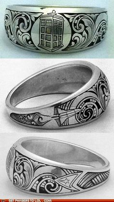 Doctor Who, space shuttle, and Star Trek on an awesome ring....I need this!