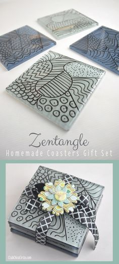 Make easy zentangle coasters. A great DIY gift idea!  www.clubchicacircle.com