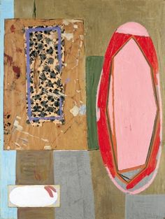 Robert Motherwell The Pink Mirror, 1946, Oil, tempera, and pasted decorative wrapping paper and paper on paperboard