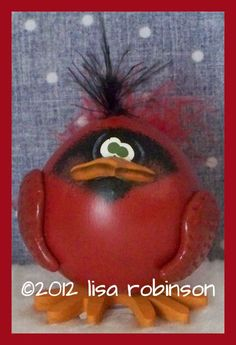 hand painted cardinal GOURD prim chick hp red bird by primchick, $20.00