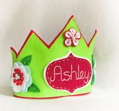 Personalized Birthday Felt  Crown Green Fairy by stitchinnetka, $34.00