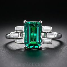 Art Deco Emerald, Diamond & Platinum Ring