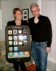 Our iphone and steve jobs halloween costume from last year!