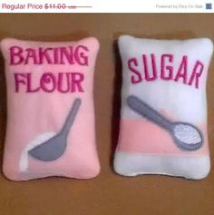 flour sugar, felt bags, felt foods, play kitchen, food bag, felt craft, sugar bag, no sew felt food, play felt food