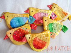 Patchwork Birds. Colourful and cute!