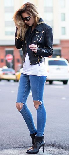 Leather jacket jeans white tank and heels