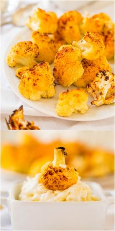 Roasted Cauliflower with Creamy Parmesan Dip - Even people who say they don't like cauliflower will love this version! Healthy & easy!