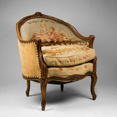 Louis XV Corbeille Shaped Aubusson Needlepoint Tapestry Bergere Chair - Found on Ruby Lane www.rubylane.com