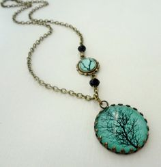 Aqua Winter Tree Necklace Black Branches by WearitoutJewelz, $25.00