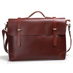 "Handmade Leather Briefcase, Messenger, 14"" Laptop / 15"" MacBook Pro Bag"