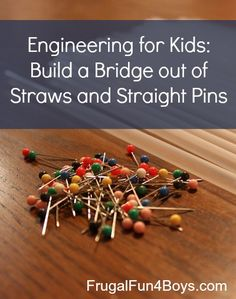 Design a bridge out of straws and straight pins that can hold 100 pennies. GREAT challenge.