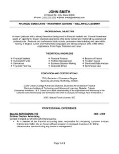 Resume Template for a Billing Representative. Download here.