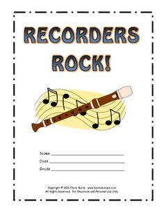 "Downloadable Printable Beginning Recorder Method Book - ""Recorders Rock"""