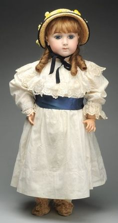 At Auction: April 27th. Exquisite French Long Face Jumeau Bébé Doll. Antique white cotton dress, undies and straw hat. Delightful and very desirable! #Jumeau #Bebe #Dolls #MorphyAuctions