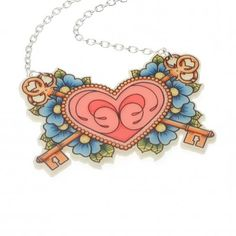 Heart and Keys Tattoo Necklace