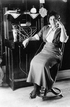 Josie Jepson (or Jepsen) at the telephone switchboard on Washington Island, 1915. #vintage #Edwardian #women #jobs