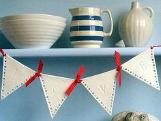 Porcelain #Love #bunting. A lovely quirky #Valentines gift