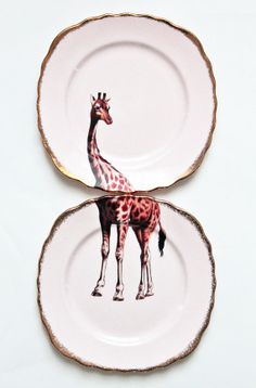 These Giraffe plates are great to eat with or hang on the wall! $56