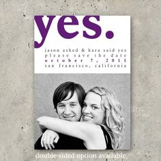 """photo save the date postcard modern wedding announcement - """"Yes"""" for $64.00 at etsy.com"""