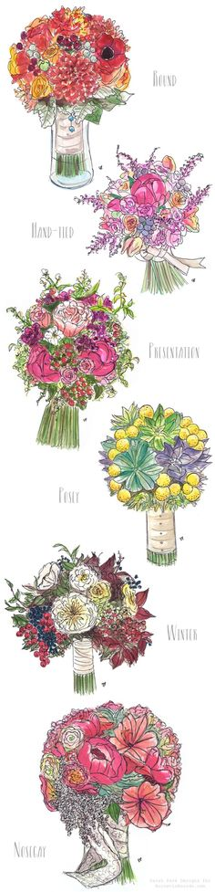 Different Types of Bridal Bouquets | artwork by Sarah Park Designs