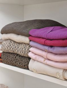 Fold your sweaters instead of hanging them to avoid stretching. / 24 Easy Ways To Get Your Home Ready For Winter