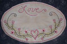 Valentine Stitchery Candle Mat PATTERN Love by thetalkingcrow, $3.00