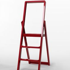 best design ever. I can see making this a little taller (8 steps vs. 3) and the rungs a little deeper for more sure stepping. it should be still foldable and lightweight for hanging on the wall when needed.