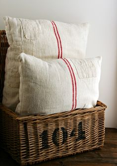 Grain sack pillows with patches