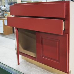 A base linen cabinet in a gorgeous red from our Colors by Canyon Creek paint program. #colorsbyCC    http://www.canyoncreek.com/products/the_nuts_and_bolts/colors_by_cc.asp