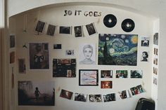 above bed, dorm room, photo display, records, music, eclectic