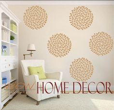 "Vinyl Wall Decal Art - Set of 9 - 6"" Rain Drop Flower wall pattern. Wall paper substitute. Wall stencil"