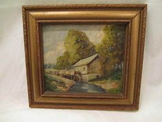 "OLD Original Glenn F Bastian THE OLD MILL Framed Oil Painting Indiana Artist Oil on Board Painting Entitled,THE OLD MILL by Indiana Artsit Glenn F Bastian in Original Carved Wood & Gilted Frame.Painting meas. approx.6 1/8"" x 5 3/4""(sight)and frame meas. approx. 9 3/4"" X 8 3/4"".Bastian(1890-1966) SOLD US $49.99"
