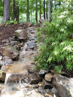 Atlanta Stone Garden Waterfall by Stonehenge Hardscape Atlanta, via Flickr. Again, great work incorporating a man-made water feature into the garden and making it look so natural. water featur, backyard waterfalls, stone waterfall and pond, interior garden, garden stones, garden waterfal, garden design ideas, falling waters, backyard gardens
